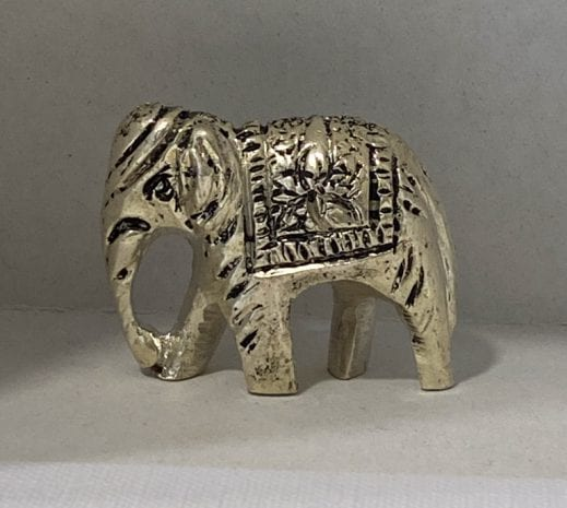 Real Silver Solid Elephant with Down Trunk   1.2 Inch