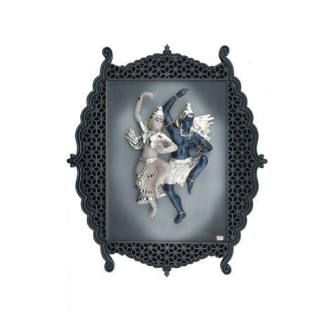 Buy Silver Shiva Parvati Plaque, 46×44 cm