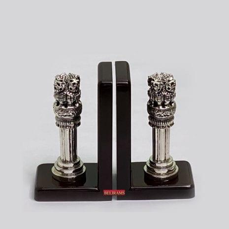Fine Silver Ashoka Pillar Bookends  6″ Ht.