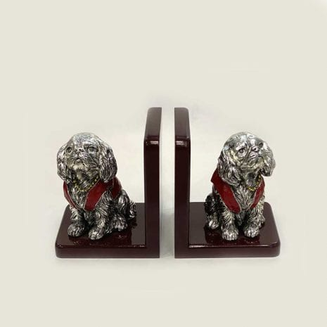 Cute Silver Sitting Dog Bookends   5.0″ each