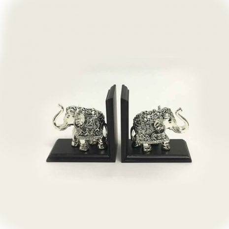 Silver Elephant Bookends   4.2″ each