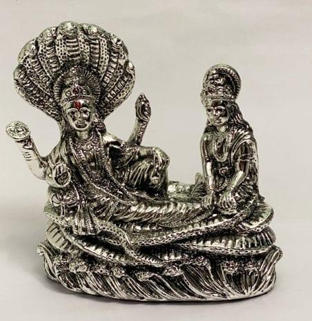 Silver Vishnu with Laxmi resting on Sheshnaag   8.2″ long