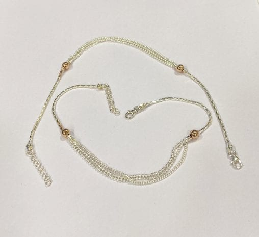 Classic Silver Anklet Pair