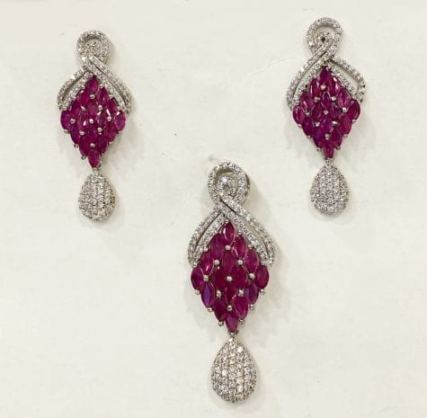 Silver Marquise Cut Real Ruby Pendant Set