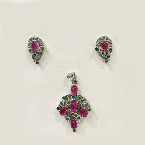 Cabochon Real Ruby & Emerald Pendant Set