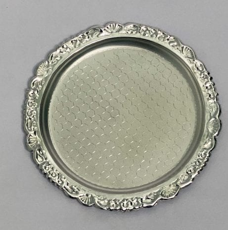 Pure Silver Round Plate Nakshi   7″ Dia