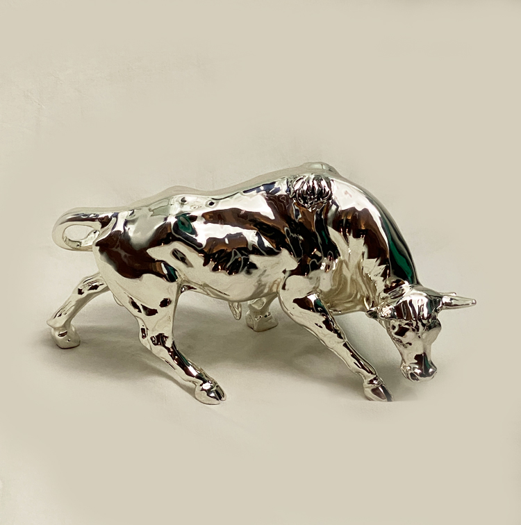 Wild Silver Bull Statue Gift   12.0 Inch Long
