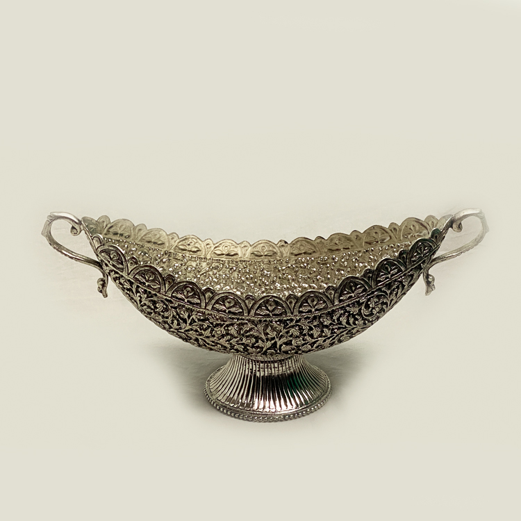Silver Plated Centerpiece with Handles- 12.7 Inch