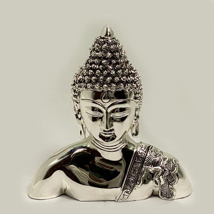Classic Silver Buddha Head Statue   10″