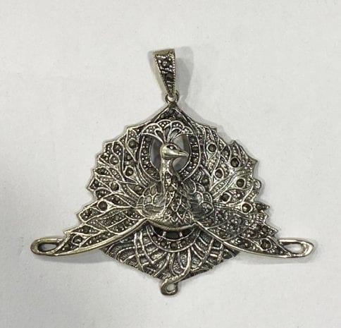 Pure Silver Peacock Pendant   60x42mm