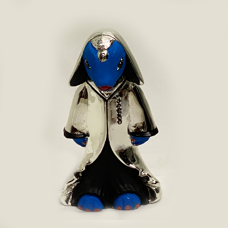 Silver JAADOO Statue Blue    7 inch