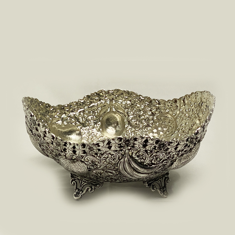 Antique Silver Plated Dish Fruits   8  Inch